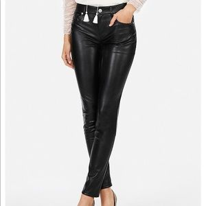 High waisted faux leather ankle leggings